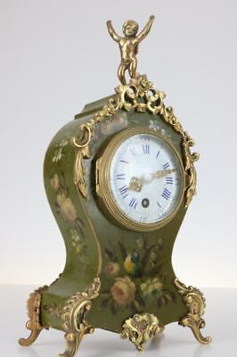 MINIATURE FRENCH BRACKET CLOCK ormolu mounts & painted case ANTIQUE astonishing