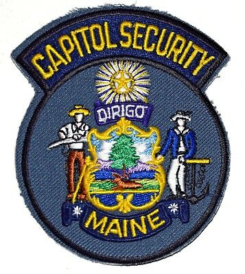 MAINE – CAPITOL SECURITY – ME Police Sheriff Patch STATE SEAL SAILOR ANCHOR FARM