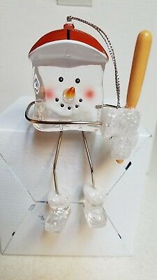 Ice Cube Snowman baseball ornament