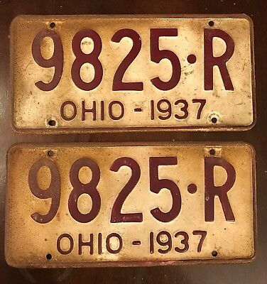 1937 Ohio License Plates, White and Maroon, Matching Pair, 9825 R