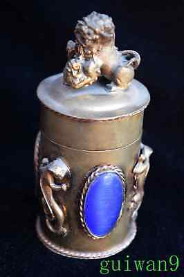 Collectable Chinese Style Miao Silver Armor Agate Carve Kylin Rare Toothpick Box