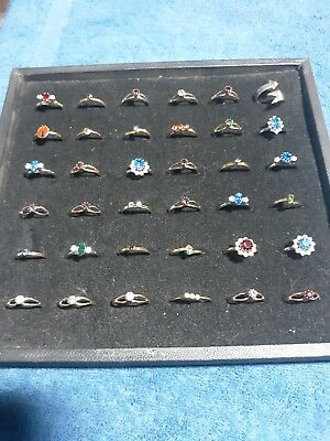 Estate Junk Drawer Lot of Vintage To Now Costume Jewelry Rings 36 Total lot M