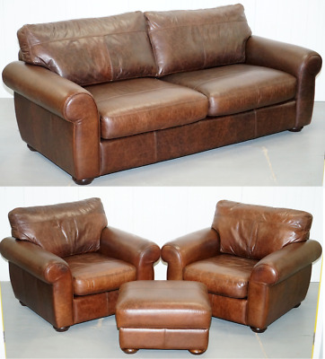 Rrp £4579 Aged Brown Leather Madison Suite Sofa Pair Armchairs Footstool Ottoman