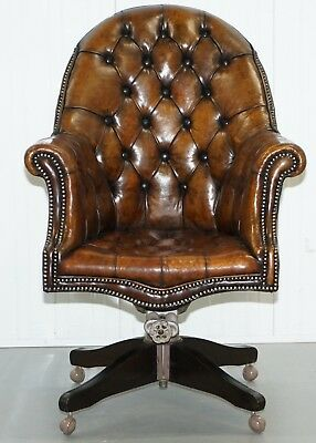 Restored 1920's Hillcrest Chesterfield Brown Leather Directors Captains Chair A1
