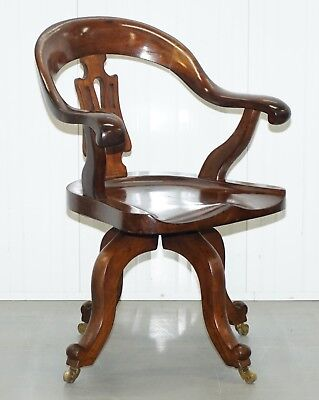 Stunning Solid Mahogany Victorian Swivel Office Captains Chair Lovely Timber