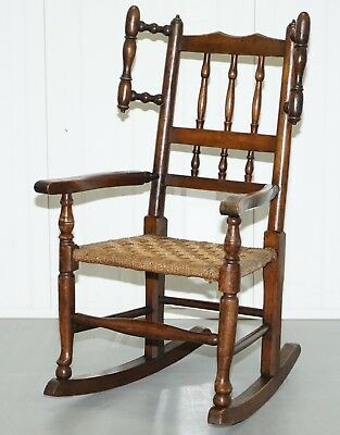 Rare Children's Small Antique Rope Seat Georgian Rocking Chair Solid Elm Display
