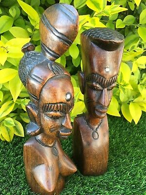 Nice Pair Of Carved Hardwood 'african' Male & Female Busts
