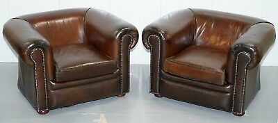 Pair Of Restored Hand Dyed Vintage Brown Leather Gentleman's Club Armchairs