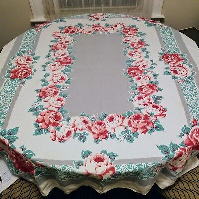 "Vintage Tablecloth Pink gray green Cabbage Roses Flowers 49x63"" Rectangular"