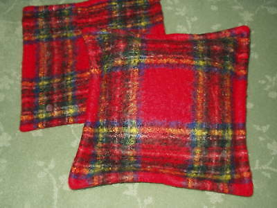 Antique Vintage RED MacINTOSH PLAID MOHAIR CHRISTMAS Pillow Covers *Free Shippin