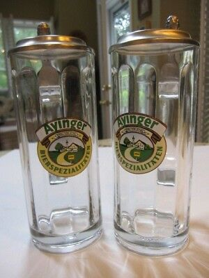 AYINGER Bierspezialitaten Beer Steins, Lot of 2, 0.3L, Dated 1990
