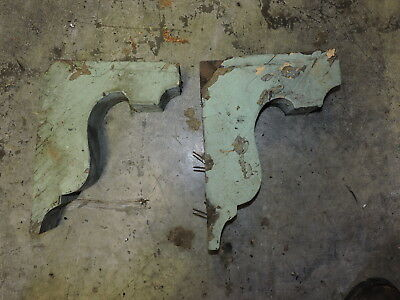 Antique Lot of 2 Wood Corbels, Architectural Salvage, Green (VAX)
