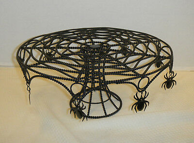 SPIDER WEB CUPCAKE/CAKE STAND Metal Halloween With  Spiders