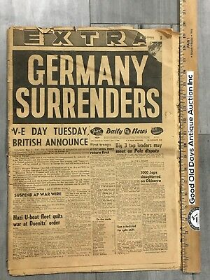 Newspapers World War 2  GERMANY SURRENDERS May 7 1945 | LOS ANGELES DAILY NEWS