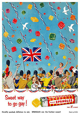 Vintage Spangles Sweets Advertising A4 Poster Print