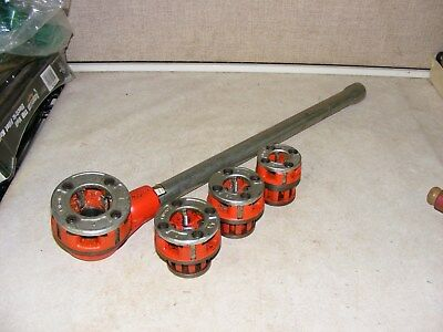 "Ridgid 00-R 4 Piece Die Head Set with Ratchet Head and handle 3/8"" to 1"" NPT"