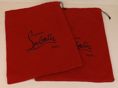 """Set of 2 Christian Louboutin Red Dust Bag for shoes or clutch purse 9.5 x 14"""""""