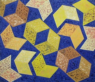 BEAUTIFUL ABSTRACT GEOMETRIC SHAPES STUDY Acrylic Painting On Board c1960