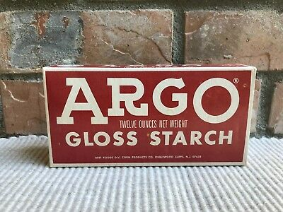 Vintage ARGO LAUNDRY GLOSS STARCH ADVERTISING BOX - Unopened 12 ounces