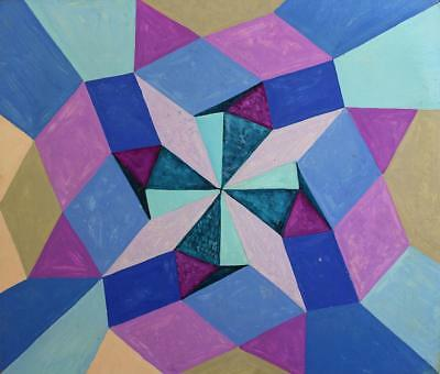 ABSTRACT GEOMETRIC SHAPES Acrylic Painting On Board c1960  CUBISM