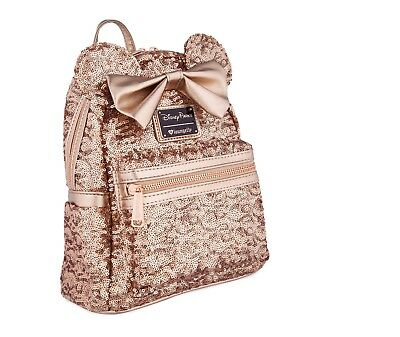Disney Parks Minnie Mouse Rose Gold Sequin Loungefly Backpack, new with tags