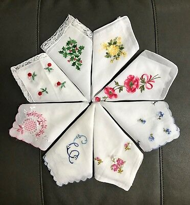 Vintage Lot of 20 Handkerchiefs Embroidered Floral Crochet Lace Christmas Multi