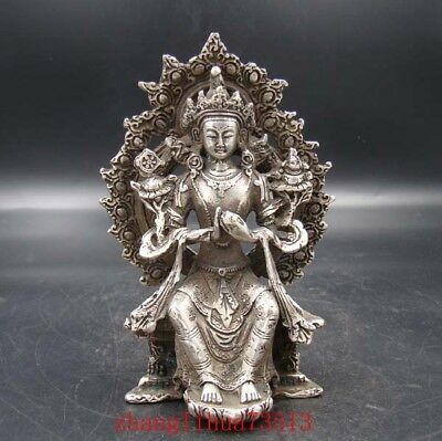 Collectible Handmade Carving Statue Buddha God India Copper Silver