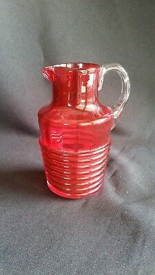 Antique  Ruby Glass Ribbed Jug