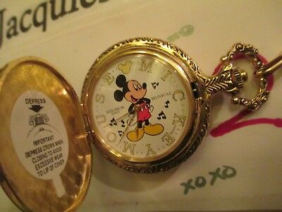 disney vintage musical mickey mouse pocket watch mint new rare timepiece