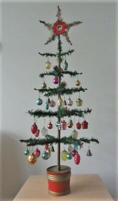 "Antique German Christmas FEATHER TREE with 45 Glass ORNAMENTS (35"" High)"
