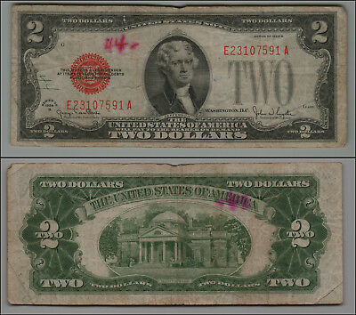 1928G $2 Dollar Bill Old Us Note   Red Seal =B225