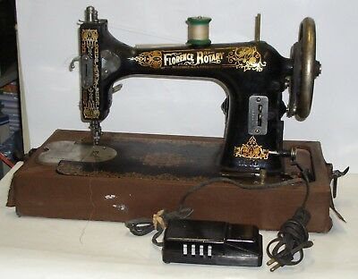Antique Florence Rotary Sewing Machine with Case & Pedal Runs Well Working Light