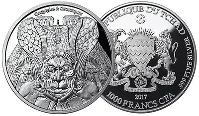 SPITTER GARGOYLES & GROTESQUES 1000 Fr Silver Coin 2017 PROOF FINISH 1 oz Chad