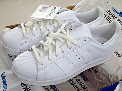 ADIDAS ORIGINALS Men's Trefoil Leather Shell Toe White-on-White Sneakers Shoes