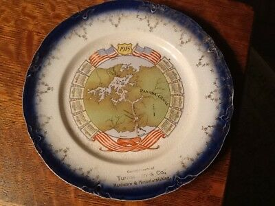 1915 Calendar Plate Panama Canal Advertisement Plate Made in Imperial China