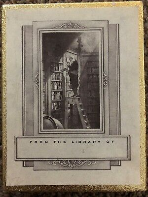Vintage Antioch Bookplates Man on Ladder in Library 35 Pieces in Box Library of