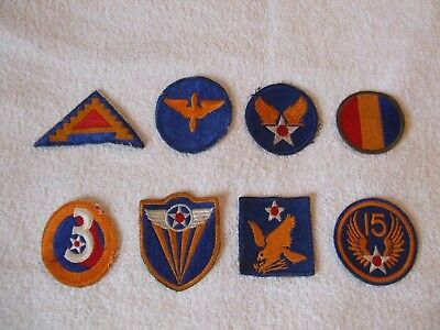 Lot of 8 WWII Patches US Army Air Corps USAAC etc. Flight Uniform