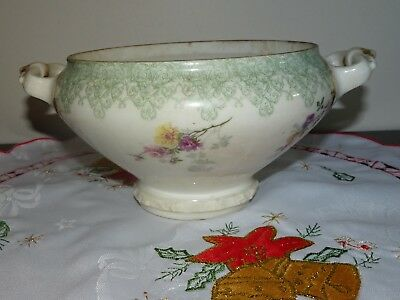 Art Nouveau T & V France Burley Co. Chicago Floral Sugar Bowl