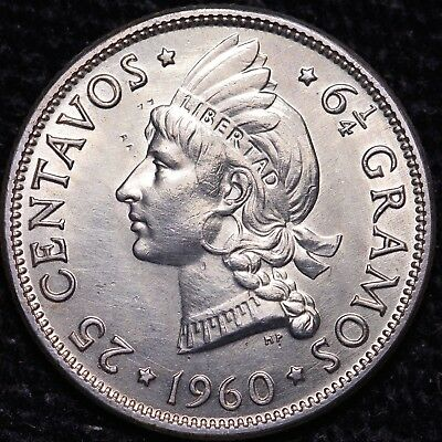 1960 Dominican Republic 25 Centavos 90% Silver Coin        Free S/H To The USA