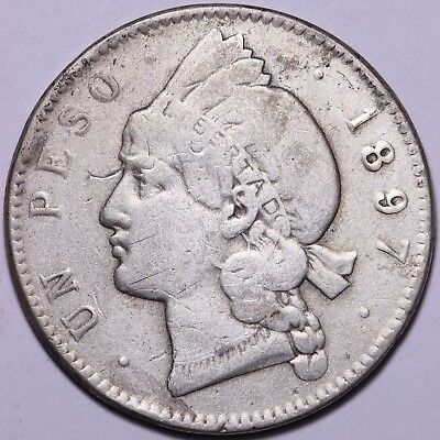 1897 Dominican Republic Un 1 Peso 35% Silver Coin   Free S/H To The USA