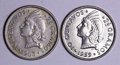 1959 & 1963 Dominican Republic 10 Centavos 90% Silver Coins Free S/H To The USA