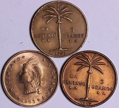 1957 & 1961 & 1963 Dominican Republic Un Centavo Coins Free S/H To The US