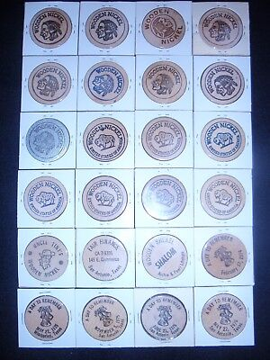 Mixed Wooden Nickel Coins Texas Dated 1969 to 1976/ Some in coin holder & loose