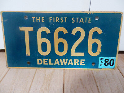 Delaware March 1980 # T6626 Vintage License Plate Car Tag With Riveted Numbers