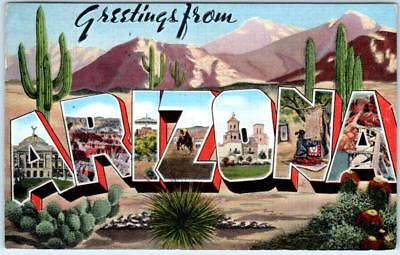 GREETINGS from ARIZONA Large Letter Linen c1940s postcard