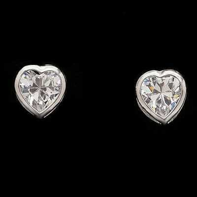 1Ct Created Diamond Solitaire Bezel Stud Earrings Heart Shape 14k White Gold