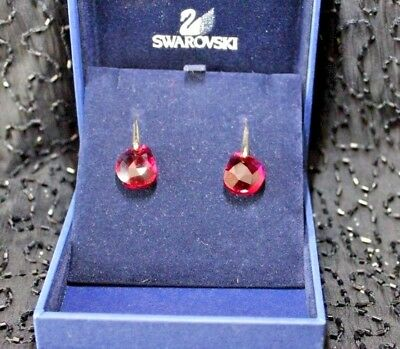 7d7a0583b Signed Swarovski Earrings RED BORDEAUX Crystal Galet Rhodium Pierced CHARITY