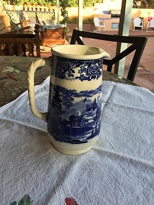"Antique CHINESE Wedgwood blue & white 6 3/4"" Pitcher Pagoda Ship Asian"