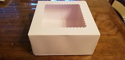 """Free shipping! (22 count) 10"""" x 10"""" x 5"""" White Window Cake Boxes Disposable"""