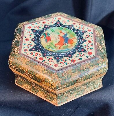 Vintage Inlaid Persian Wood Box with Polo Players